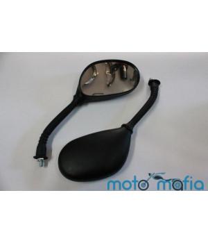 Зеркала овальные черные (резьба М8) ножка в гофре